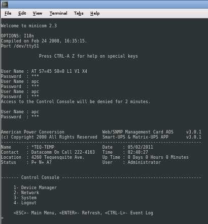 Preparing APC Smart-UPS 1500 for Critical Servers | Binarymist