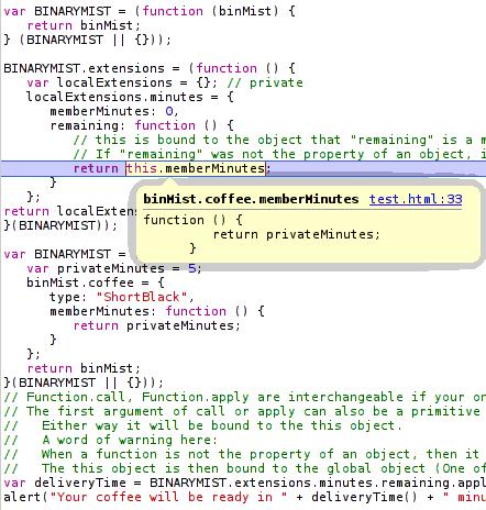 javascript binding callback