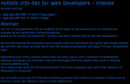 Holistic Info-Sec for Web Developers Training